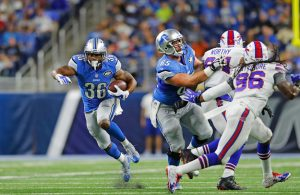 DETROIT, MI - SEPTEMBER 01: Dwayne Washington #36 of the Detroit Lions runs for a first down during the first quarter of the preseason game against the Buffalo Bills at Ford Field on September 1, 2016 in Detroit, Michigan. (Photo by Leon Halip/Getty Images)