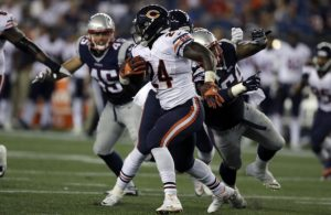 New England Patriots defenders wrap up Chicago Bears running back Jordan Howard (24) during the second half of a preseason NFL football game Thursday, Aug. 18, 2016, in Foxborough, Mass. (AP Photo/Charles Krupa) ORG XMIT: [TRANSREF]