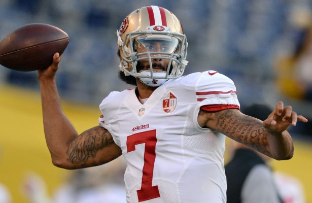 Sep 1, 2016; San Diego, CA, USA;  San Francisco 49ers quarterback Colin Kaepernick (7) passes before the game against the San Diego Chargers at Qualcomm Stadium. Mandatory Credit: Jake Roth-USA TODAY Sports
